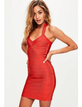 Red Bandage Halterneck Bodycon Dress by Missguided