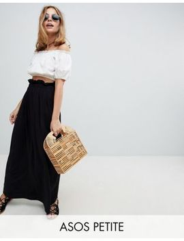 Asos Design Petite Maxi Skirt With Paperbag Waist by Asos Design
