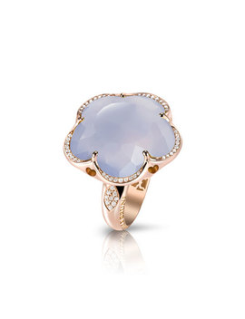 Bon Ton Chalcedony Flower Ring With Diamonds In 18 K Rose Gold by Pasquale Bruni