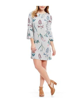 Gardenia Bell Sleeve Floral Print Shift Dress by Joules