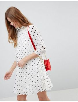 Asos Pleated Trapeze Mini Dress In Spot by Asos Design
