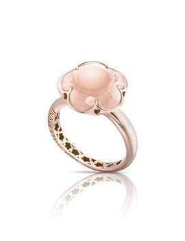 Bon Ton Pink Quartz Flower Ring In 18 K Rose Gold by Pasquale Bruni