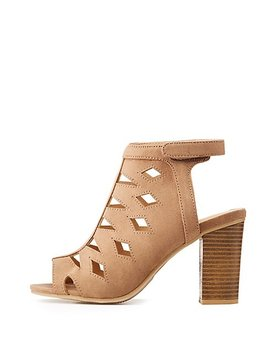 Faux Suede Cut Out Sling Back Booties by Charlotte Russe