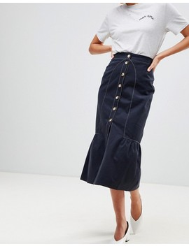 Asos Midaxi Skirt With Buttons And Contrast Stitching by Asos Collection