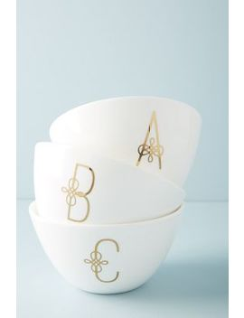 Scripted Monogram Bowl by Lenox For Anthropologie