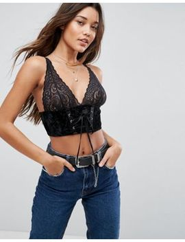 Asos Premium Carms Velvet & Lace Longline Bra With Corset Detail by Asos Collection