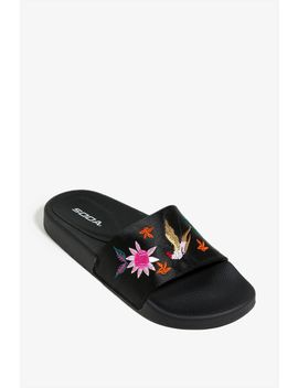 Satin Slide Embroidered Sandal by A'gaci
