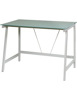 One Space Contemporary Glass Writing Desk, Steel Frame, White And Cool Blue by One Space