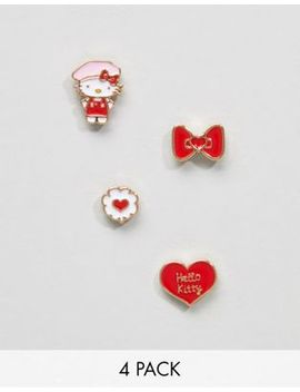 Hello Kitty X Asos 4 Pack Mismatch Earrings by Asos Design