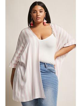 Plus Size Stripe Open Front Kimono by Forever 21
