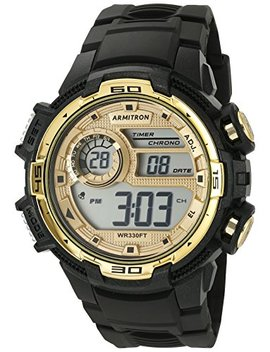 Armitron Sport Men's 40/8347 Bkgd Gold Tone Accented Digital Chronograph Black Resin Strap Watch by Armitron