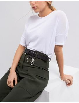 Weekday Leather Belt With Ring Detail by Weekday