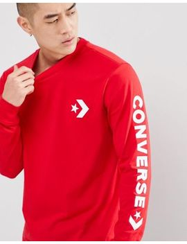 Converse Star Chevron Wordmark Long Sleeve Tee In Red 10006013 A06 by Converse