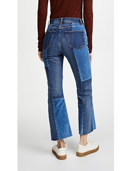 La Vie Patched Velvet & Denim Jeans by La Vie Rebecca Taylor