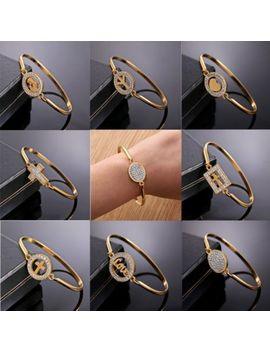 18k Filled Gold Zircon Cross Love Valentine's Day Bangle Cuff Womans Bracelet by Unbranded