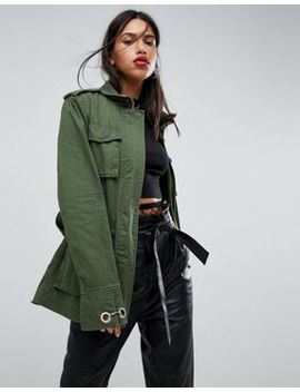 Asos Design Double Wrap Belted Khaki Jacket by Asos Collection