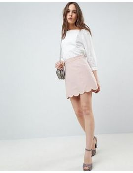 Asos Design Tailored A Line Mini Skirt With Scallop Hem by Asos Design