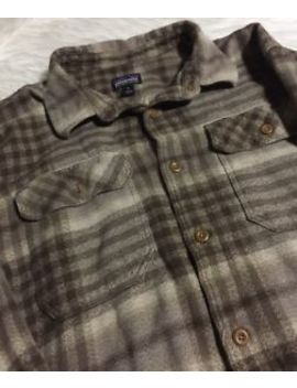 Patagonia Brown Tan Thick Flannel Long Sleeve Button Front Shirt L Mens by Patagonia