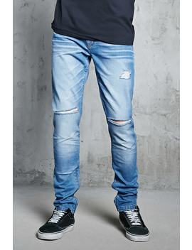 Distressed Ankle Zip Jeans by F21 Contemporary