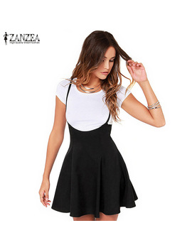 Zanzea Women 2017 Summer Sexy Ladies Skirts Oversized Vintage High Waist Strapless Solid Pleated Hem Mini Skirts Plus Size S 3 Xl by In My Closet Store