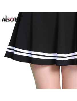 Alsoto Fashion Summer Style Women Skirt Solid Color Sexy High Waist Pleated Skirt Black Korean Version Mini A Line Saia by Alsoto Boutique Store
