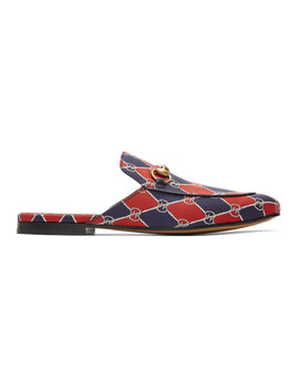 Navy & Red Kings Gg Slippers by Gucci