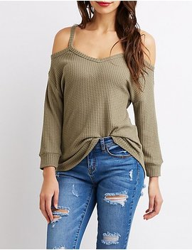Cold Shoulder Waffle Knit Top by Charlotte Russe