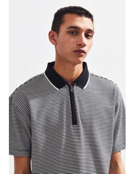 Uo Stripe Zip Polo Shirt by Urban Outfitters