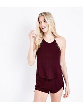 burgundy-spot-print-lace-trim-pyjama-set by new-look