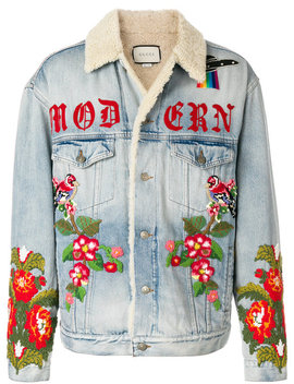 Shearling Lined Denim Jacket With Embroidery by Gucci