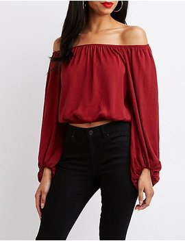 Balloon Sleeve Off The Shoulder Top by Charlotte Russe
