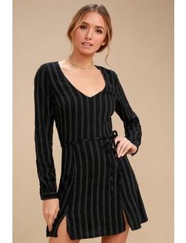 Presley Black Striped Long Sleeve Dress by Obey
