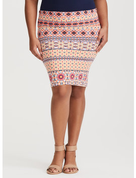 Coral Mosaic Jersey Knit Pencil Skirt by Torrid