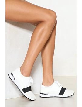 Run With It Vegan Leather Sneaker by Nasty Gal