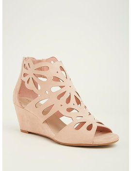 Blush Floral Cutout Midi Wedges (Wide Width) by Torrid