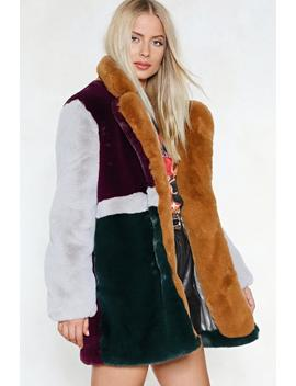 You've Met Your Patch Faux Fur Coat by Nasty Gal