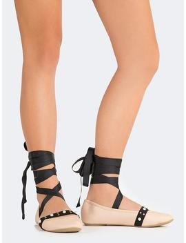 Lace Up Ballerina Flats by Zooshoo