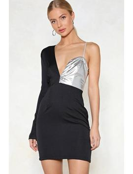 Split The Difference Metallic Dress by Nasty Gal
