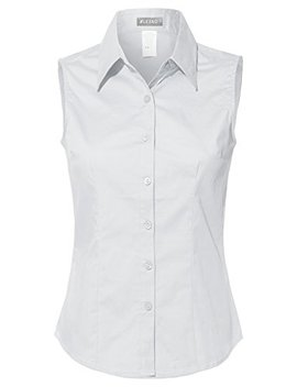 Le3 No Womens Lightweight Cotton Sleeveless Button Down Shirt by Le3 No