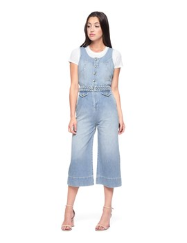 Denim Braided Waist Culotte Jumpsuit by Juicy Couture