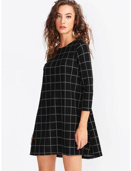 Grid Swing Dress by Shein