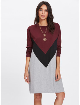 Cut And Sew Swing Tee Dress by Shein