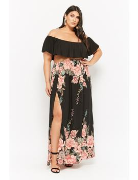 Plus Size Floral Print Maxi Skirt by Forever 21