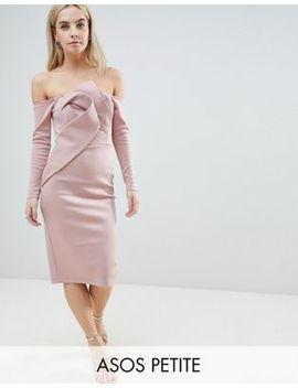 Asos Petite Long Sleeve Bandeau Origami Front Midi Dress by Asos Petite