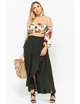 Plus Size Wrap Front Ruffle Maxi Skirt by Forever 21