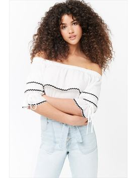 Textured Off The Shoulder Crop Top by Forever 21