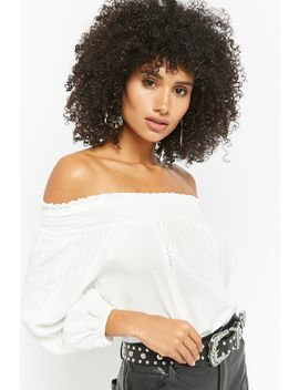 Smocked Cutout Off The Shoulder Top by Forever 21