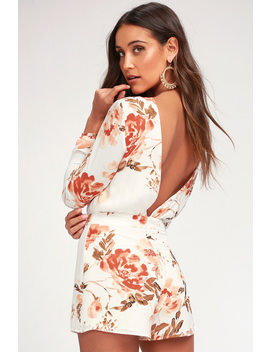 Flower Power White Floral Print Backless Romper by Ali & Jay
