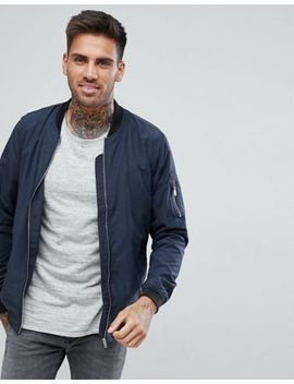Pull&Bear Bomber Jacket With Ma1 Pocket In Navy by Pull&Bear