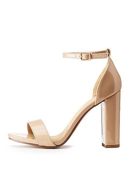 Patent Faux Leather Ankle Strap Sandals by Charlotte Russe